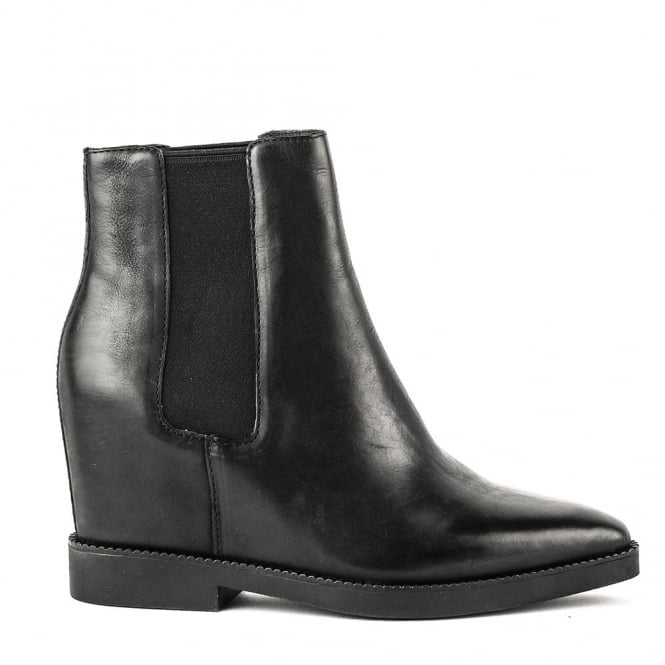 Ash GONG Low-Wedge Boots Black Leather