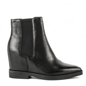 GONG Low-Wedge Boots Black Leather