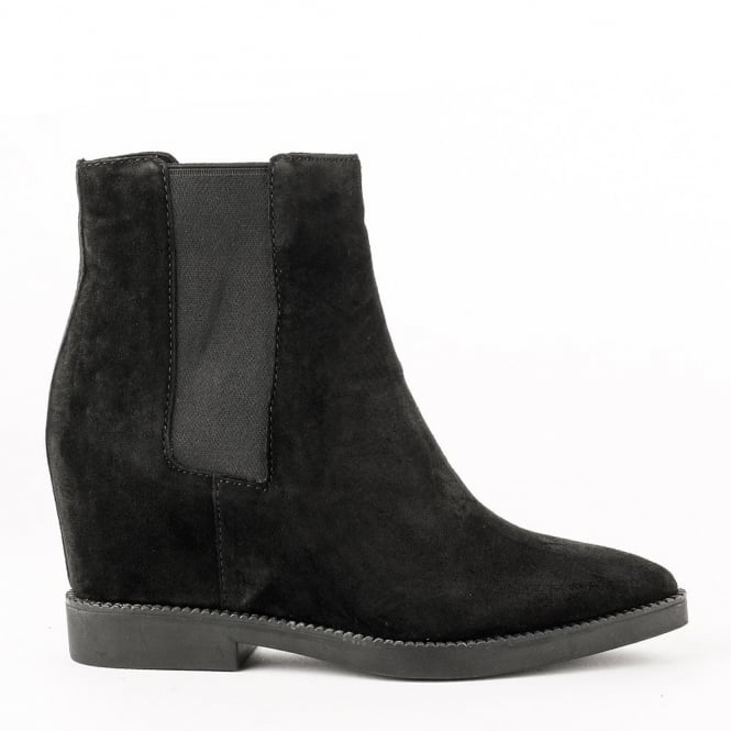 Ash GONG Low-Wedge Boots Black Suede