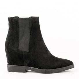 GONG Low-Wedge Boots Black Suede