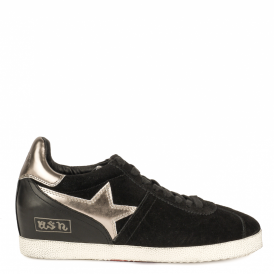 GUEPARD BIS Low-Wedge Trainers Black Leather & Suede