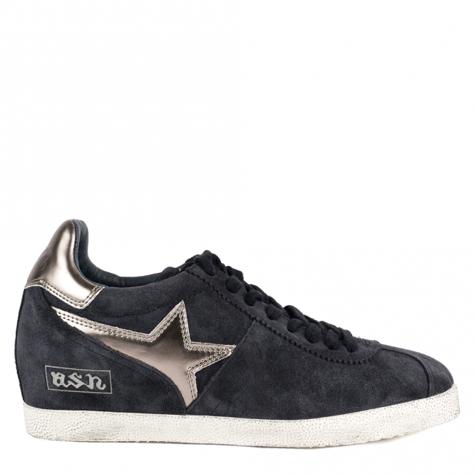 Ash GUEPARD BIS Low-Wedge Trainers Midnight Blue Suede