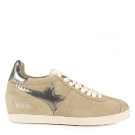 GUEPARD BIS Low-Wedge Trainers Seta Beige Suede