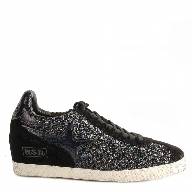 Ash GUEPARD Low-Wedge Trainers Midnight Glitter & Black Suede