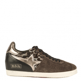 GUEPARD Low-Wedge Trainers Smoke Grey Suede & Leopard