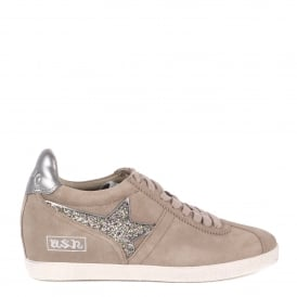 GUEPARD Low-Wedge Trainers Taupe Suede & Green Glitter