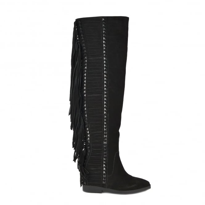 Ash GWEN Thigh High Fringed Boots Black Suede