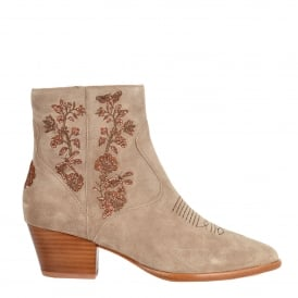 HALO Embroidery Ankle Boots Desert Suede