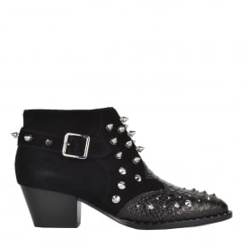 HARPER Studded Boots Black Croc Leather & Suede