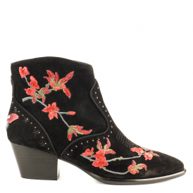 HEIDI Embroidered Ankle Boots Black Suede