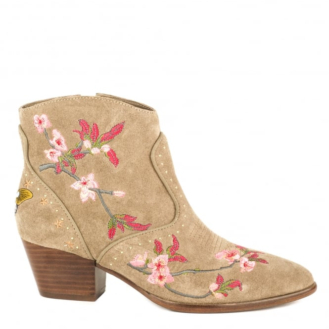 Ash HEIDI Embroidered Ankle Boots Cocco Suede
