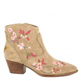 HEIDI Embroidered Ankle Boots Cocco Suede