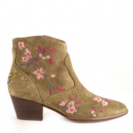 HEIDI Embroidered Ankle Boots Russet Suede