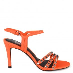 22aa5b75386 Ash HELLO Heeled Sandals Orange Leather   Silver Studs