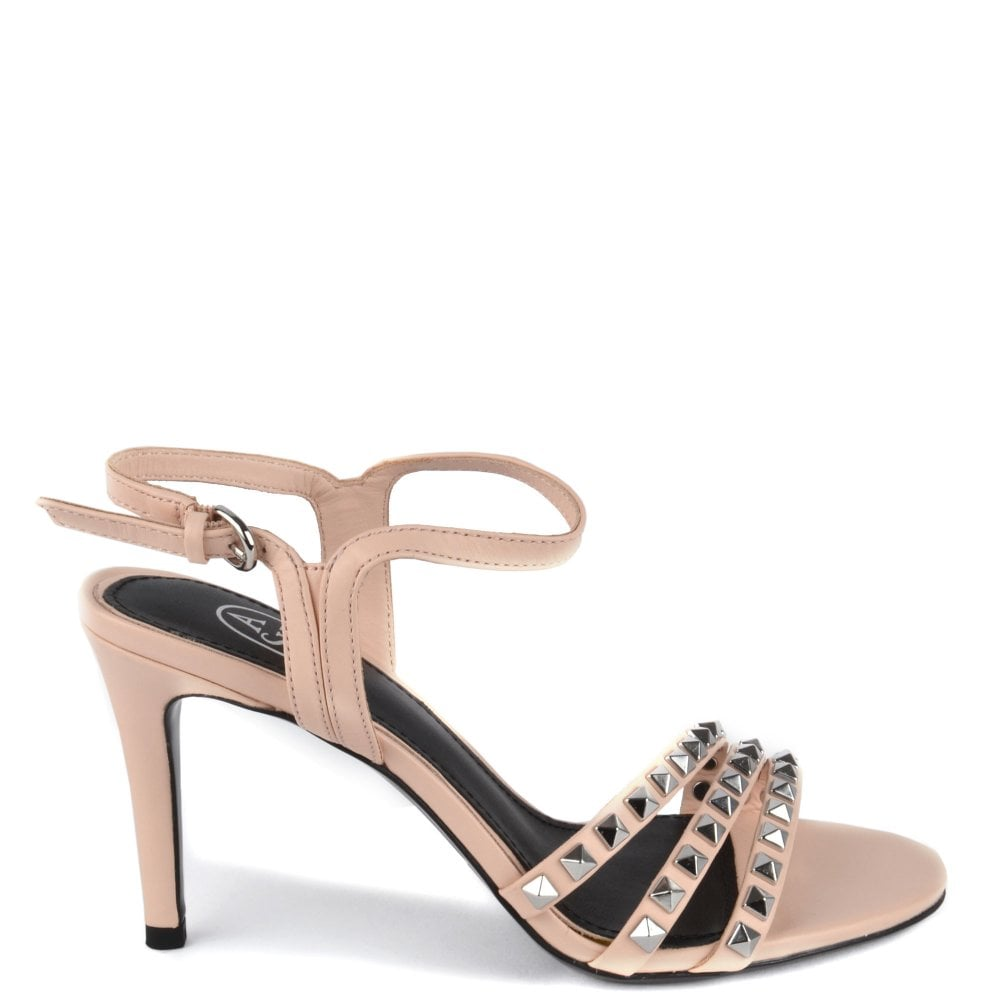 3a7c6cd17a9b Ash HELLO Heeled Sandals Pink Leather   Silver Studs