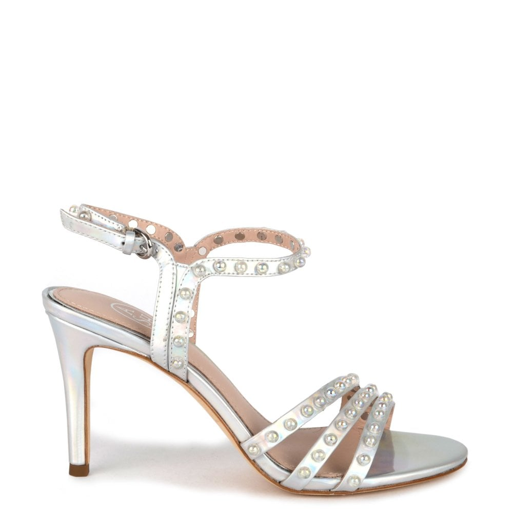 641461311607 Ash HELLO PEARL Heeled Sandals Silver Leather