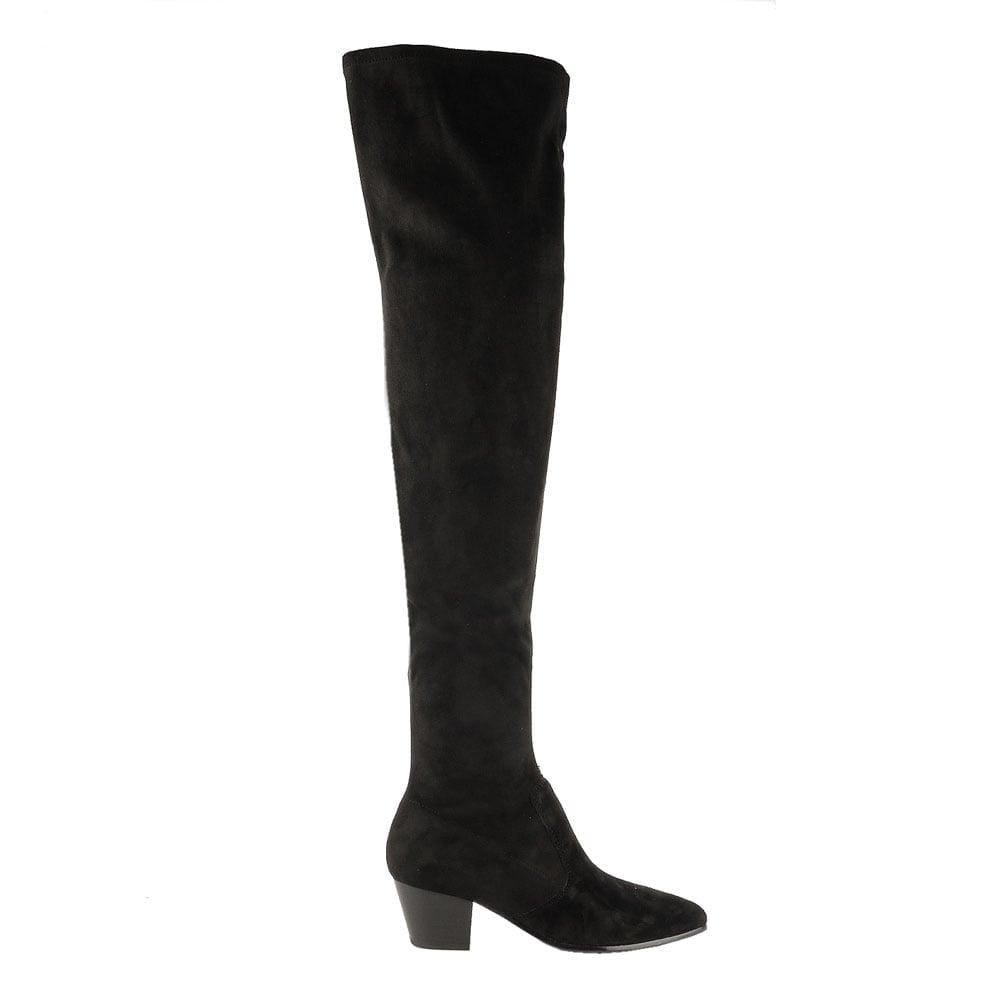 shop ash footwear the knee boots in black suede