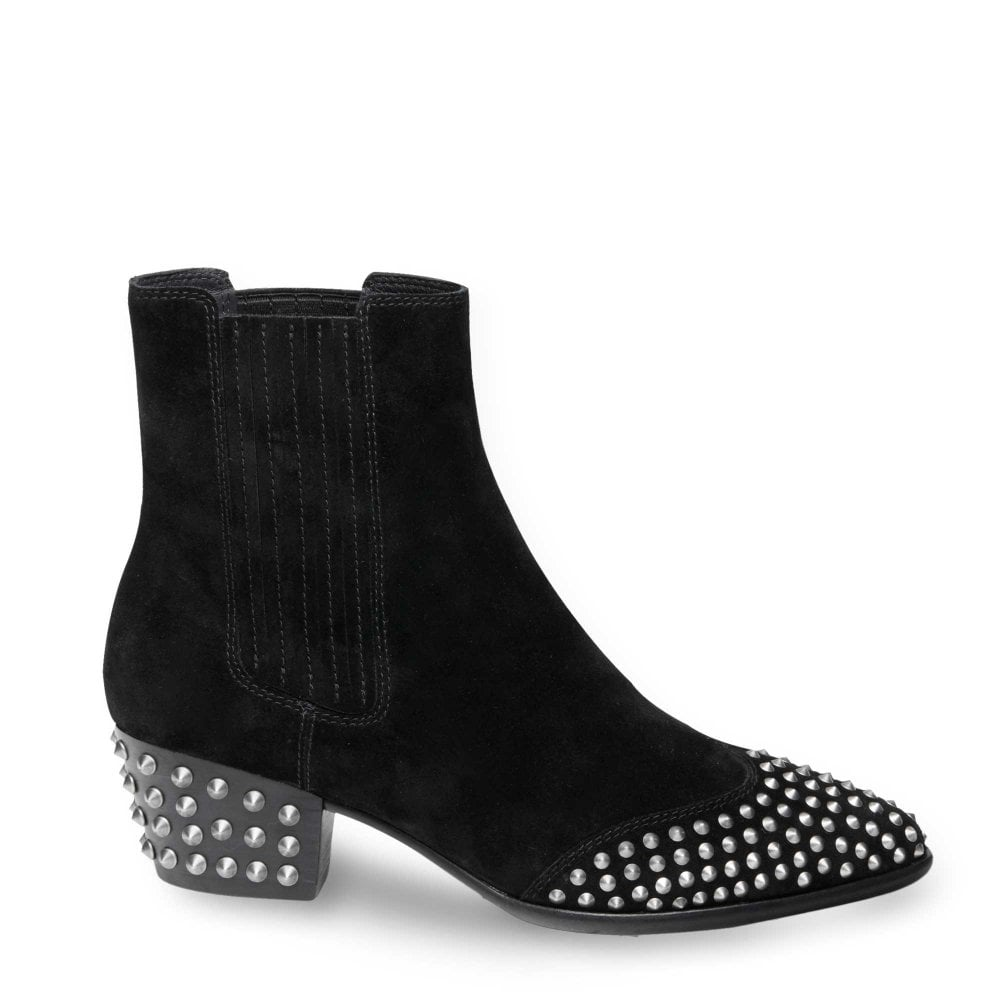 aadbf5615fa8 Ash HOOK Ankle Boots Black Suede   Antic Silver Studs