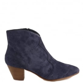 HURRICAN Boots Navy Blue Suede Gold Zip