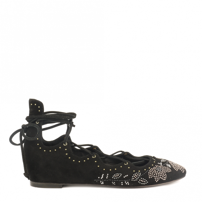 Ash IBIZA Studded Ballet Flats Black Suede