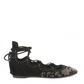 IBIZA Studded Ballet Flats Black Suede