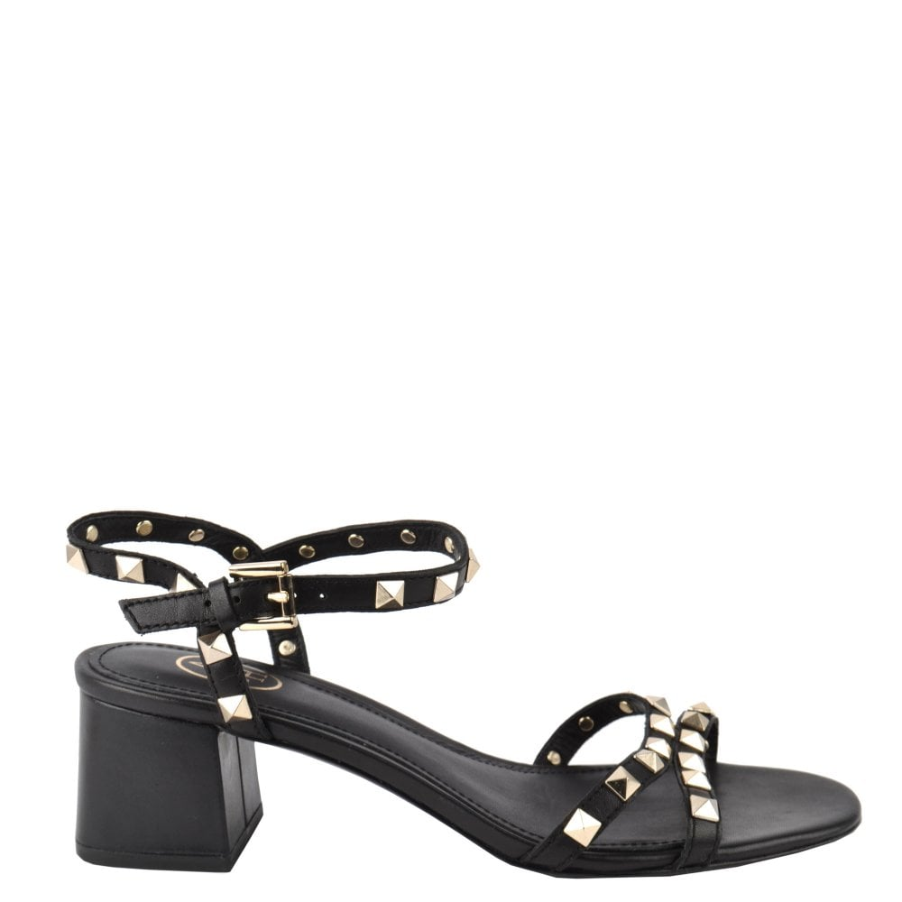 special buy best deals on so cheap IGGY Block Heel Sandals Black Leather