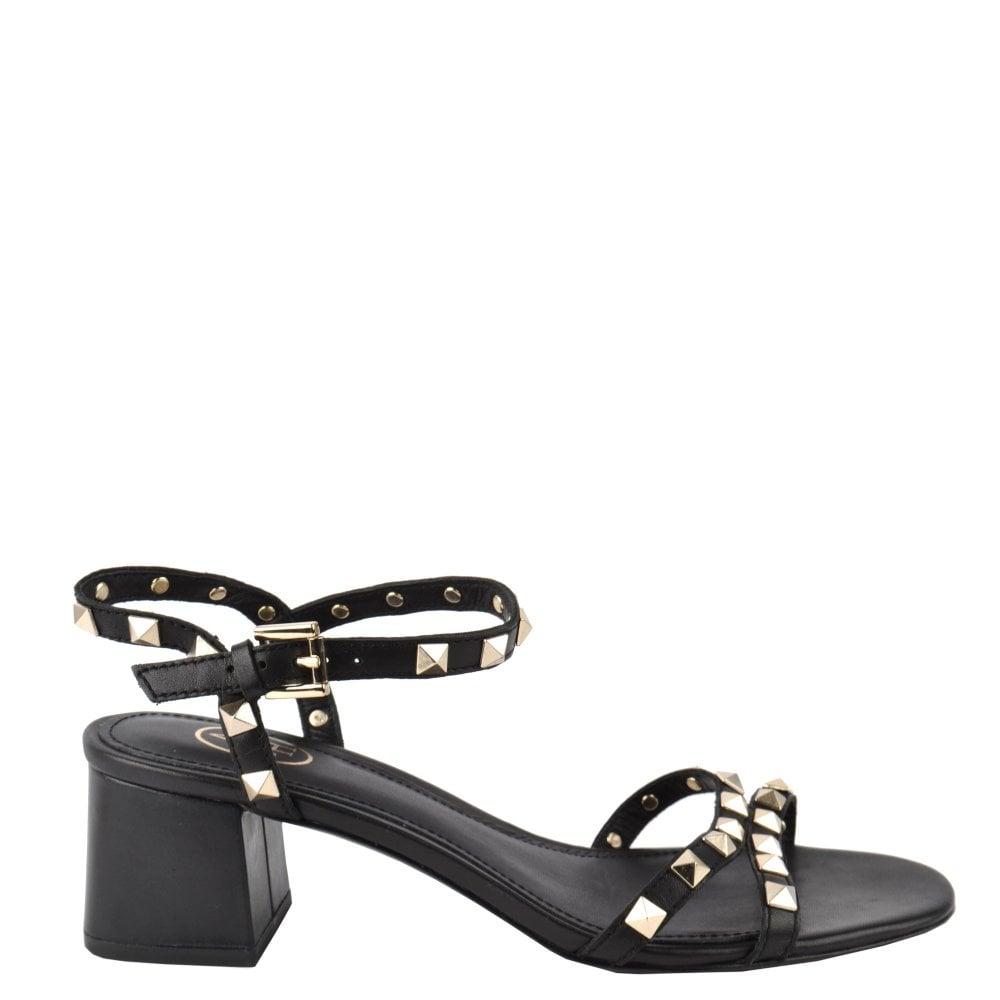 8fb9d9149b6 IGGY Block Heel Sandals Black Leather