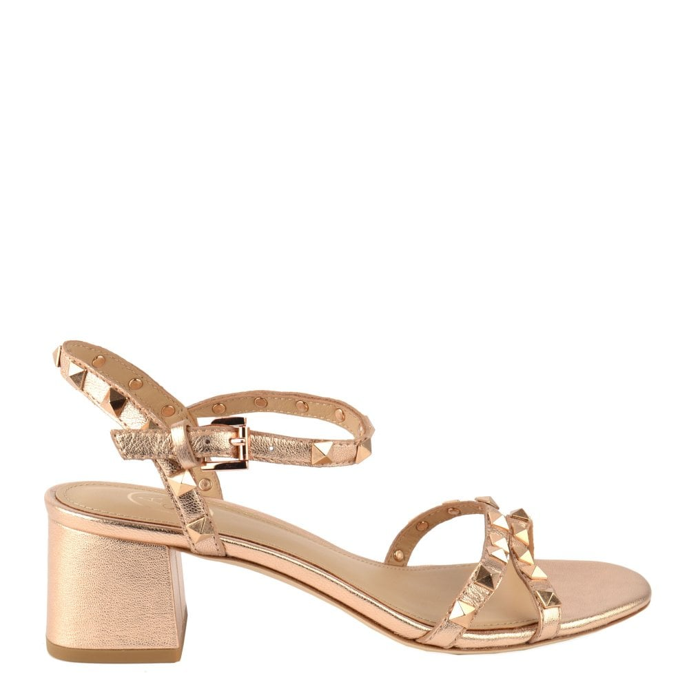 38137ed1aa8c Ash IGGY Block Heel Sandals Rose Gold Leather
