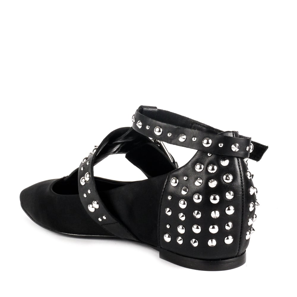 a09ee6819 Shop Ash Iggy Studded Flats At Ash Footwear In Black Satin Online Now