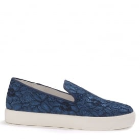ILLUSION Slip On Trainers Indigo Floral Lace