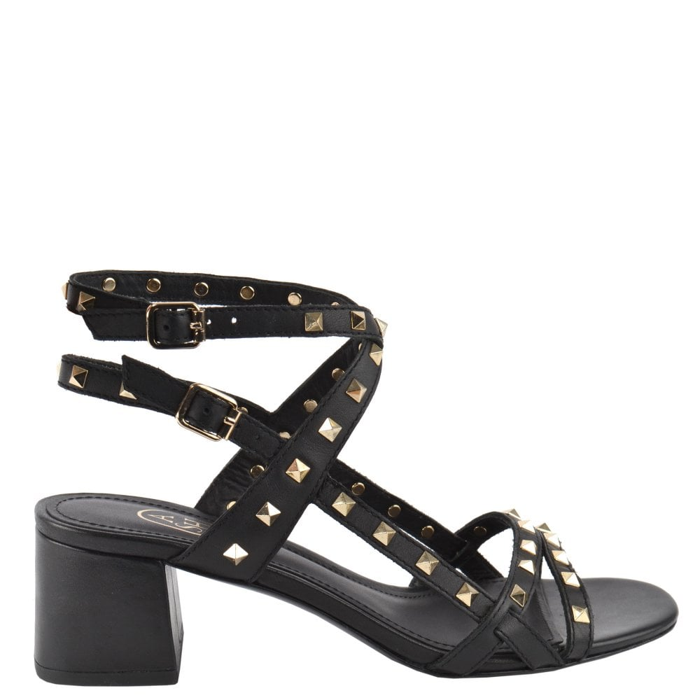 latest discount best sale top-rated cheap IMAN Block Heel Sandals Black Leather