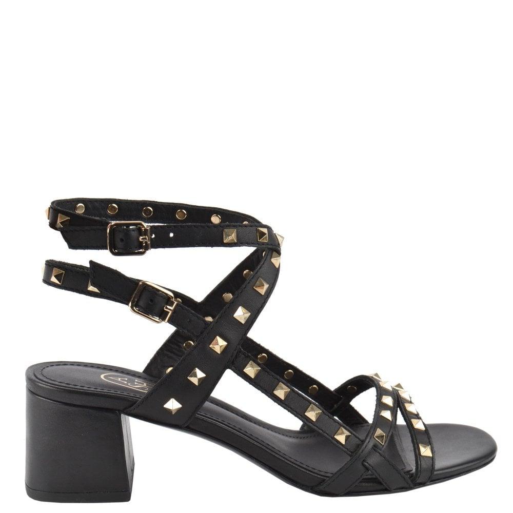 f0d5748c812 IMAN Block Heel Sandals Black Leather
