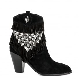 IMAN Fringed Boots Black Suede