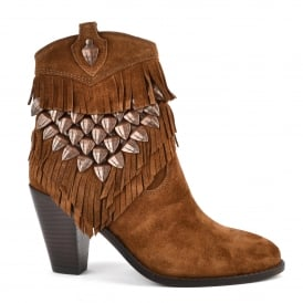 IMAN Fringed Boots Russet Suede