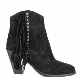 INDY Fringed Boots Black Suede