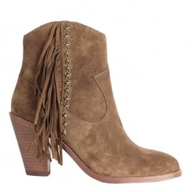 INDY Fringed Boots Russet Suede