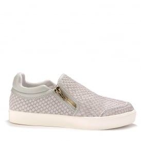 INTENSE Slip On Trainers Grey Python Effect Leather