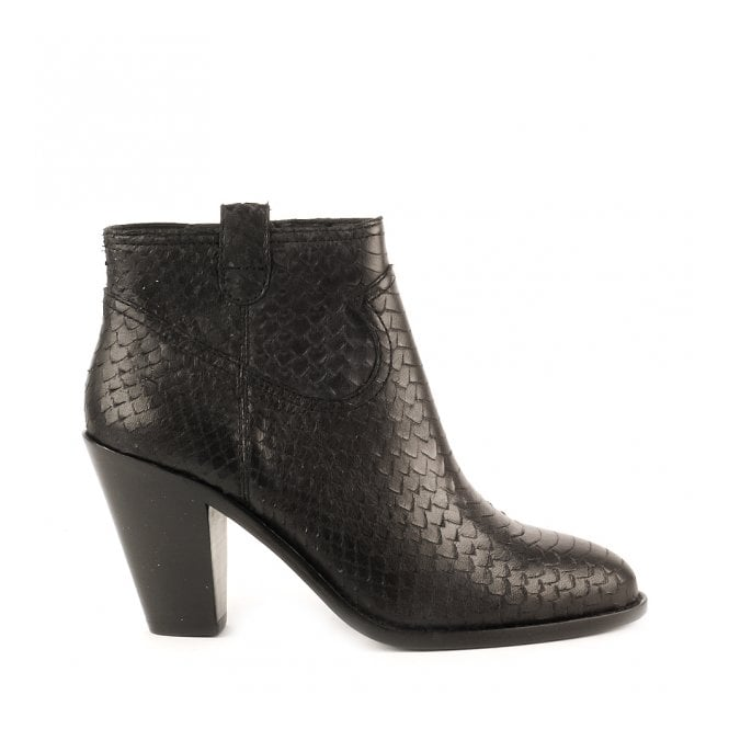Ash IVANA Ankle Boots Black Python Scale Leather