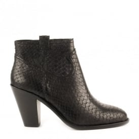 IVANA Ankle Boots Black Python Scale Leather