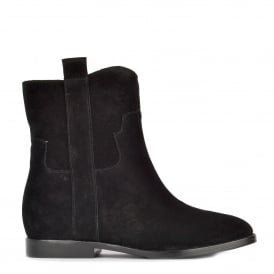 JANE Low Wedge Boots Black Suede