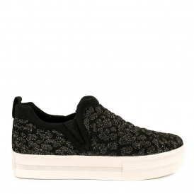 JANE Slip On Trainers Black & Fiesta Knit
