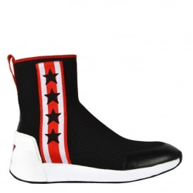 JANGO High Top Star Trainers Black Red Stretch Knit