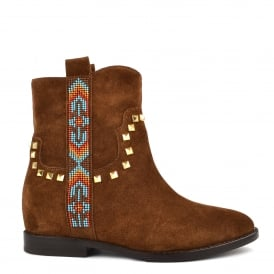 JANICE Studded Boots Russet Suede