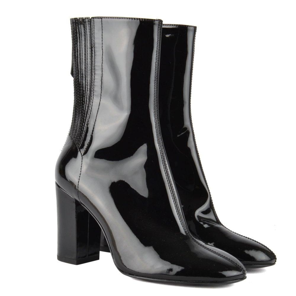 Black Patent High Heeled Boots | Ash