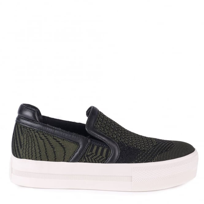 Ash JEDAY Slip-On Trainers Army Green & Black Knit