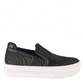 JEDAY Slip-On Trainers Army Green & Black Knit