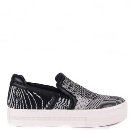 JEDAY Slip-On Trainers Marble Grey & Black Knit
