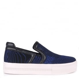 JEDAY Slip-On Trainers Ocean Blue & Black Knit