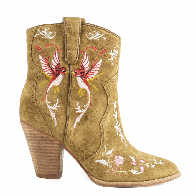 Ash JENNY Embroidered Western Boot Russet Suede