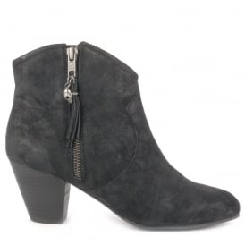 JESS Boots Black Distressed Suede